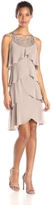 S.L. Fashions Women's Jewel Neck Multi Tiered Cocktail Dress
