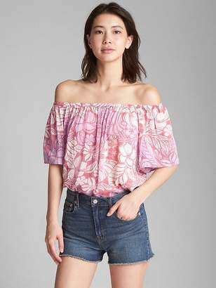 Gap Flounce Print Off-Shoulder Top