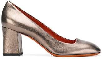 Santoni metallic block-heel pumps