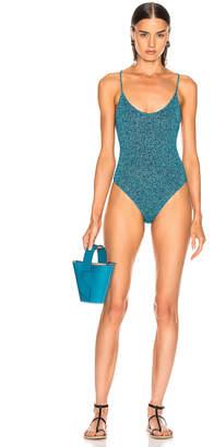 Caroline Constas Delfina Swimsuit in Teal | FWRD