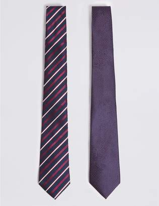 Marks and Spencer 2 Pack Striped & Textured Ties