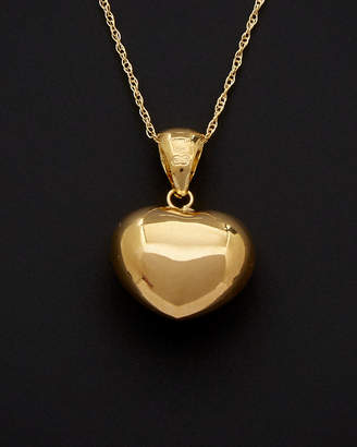 Italian Gold 18K Puffed Heart Pendant Necklace