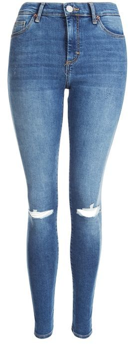 Topshop Topshop Moto blue ripped sidney jeans