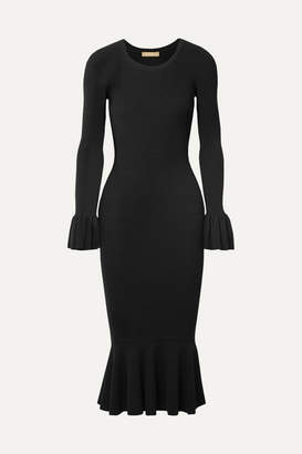 Michael Kors Ruffle-trimmed Ribbed Stretch-knit Midi Dress - Black