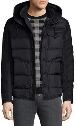 Moncler Ryan Nylon & Wool Hooded Puffer Jacket, Black