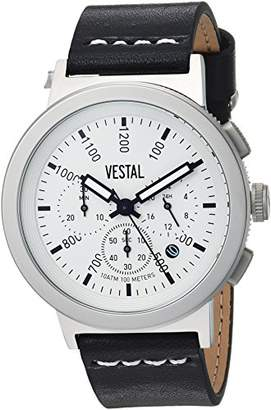 Vestal Quartz Stainless Steel and Leather Dress Watch