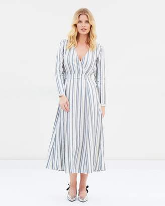 V-Neck Striped Shirt Dress
