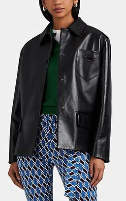 Prada Women's Logo-Pocket Leather Jacket - Black