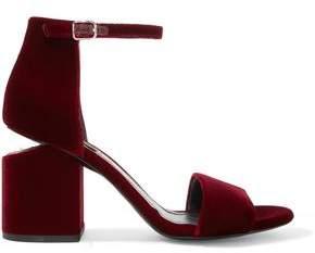 Alexander Wang Abby Leather-Trimmed Velvet Sandals