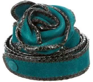 Marc Jacobs Suede Snakeskin-Trimmed Belt