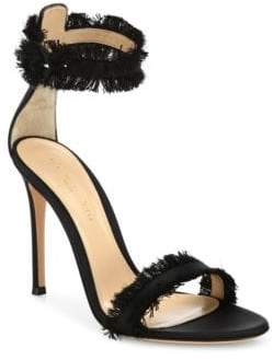 Gianvito Rossi Caribe Frayed Satin Ankle-Strap Sandals