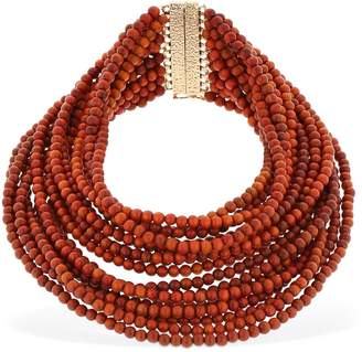 Rosantica Arizona Wood Beads Statement Necklace