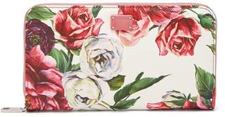 Dolce & Gabbana Rose-print leather continental wallet