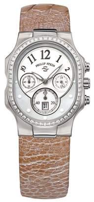 Philip Stein Teslar Women's Ostrich Embossed Strap Diamond Classic Round Watch, 43mm - 1 ctw