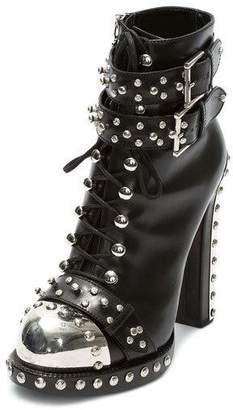 Alexander McQueen Studded Lace-Up Buckle Bootie, Black