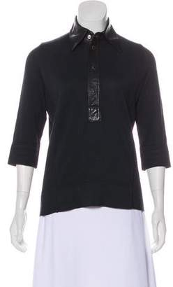 DSQUARED2 Leather-Trimmed Long Sleeve Top