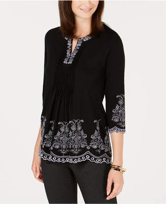 Charter Club Petite Embroidered Split-Neck Cotton Peasant Top