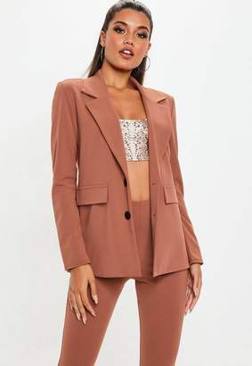 Missguided Brown Crepe Double Breasted Blazer