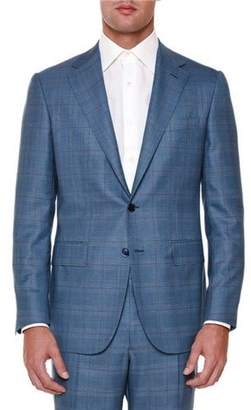 Stefano Ricci Windowpane Two-Piece Wool Suit, Blue/Red $6,995 thestylecure.com