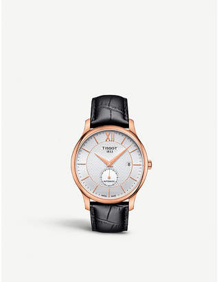 Tissot T0634283603800 Tradition rose-gold plated stainless steel and leather watch