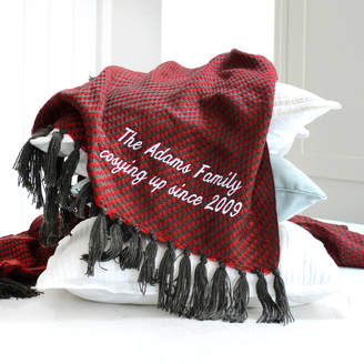 A Type Of Design Personalised Red And Black Luxury Tassel Throw