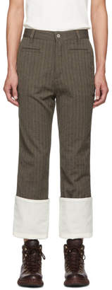 Loewe Brown Wool Striped Fisherman Trousers