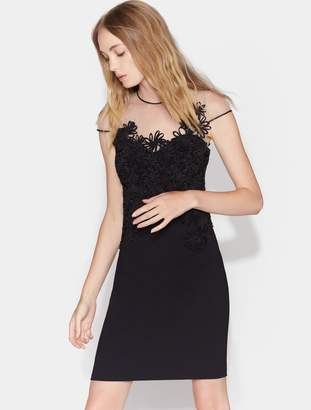 Halston Fitted Embroidered Floral Applique Dress