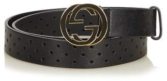Gucci Vintage Perforated Leather Interlocking Gg Belt