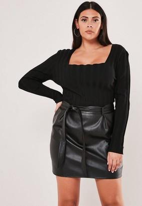 Missguided Plus Size Black Extreme Rib Square Neck Bodysuit