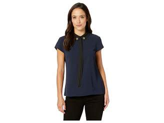 CeCe Short Sleeve Embellished Collar w/ Bow Blouse
