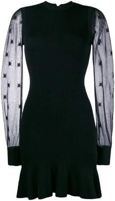 Alexander McQueen sheer sleeve knitted dress