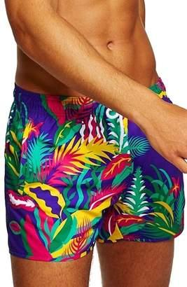 Topman Neon Floral Print Swim Trunks