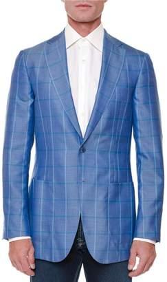 Stefano Ricci Cashmere-Silk Windowpane Jacket, Blue/Green