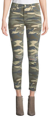 Mother The Looker High-Waist Frayed Camo-Print Skinny Jeans