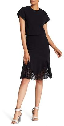 Rebecca Taylor Ruffled Lace Hem Skirt