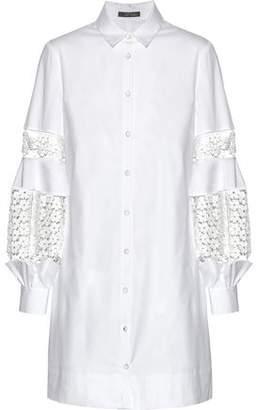 Lela Rose Guipure Lace-Paneled Cotton-Blend Poplin Dress