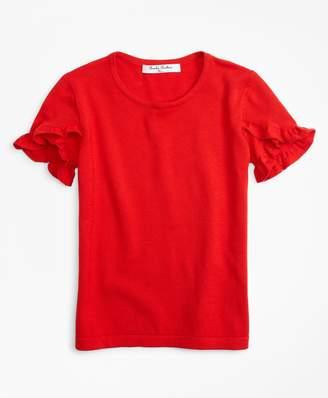Brooks Brothers Girls Ruffle Sleeve Sweater