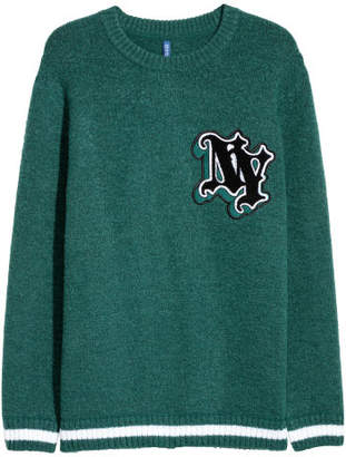 H&M Knit Sweater with Embroidery - Green