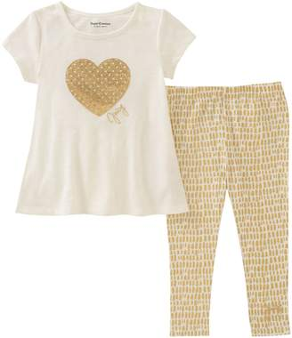 Juicy Couture Embellished Heart Top & Glittered Leggings Set