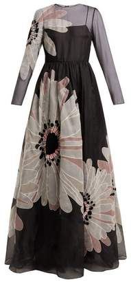 Valentino Flower Applique Organza Gown - Womens - Black Multi