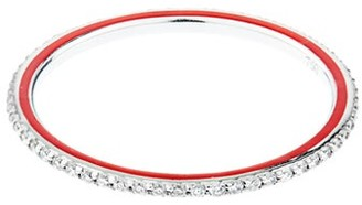 Raphaele Canot - Skinny Deco Diamond, Enamel & White Gold Ring - Womens - Red