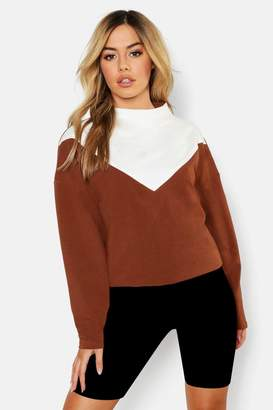 boohoo Petite Funnel Neck Colour Block Sweat Top