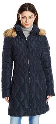 Jessica Simpson Women's Mid-Length Diamond-Quilted Down Coat with Faux-Fur Trim