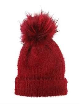Morgan & Taylor Knit Beanie With Fur Pompom