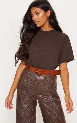 PrettyLittleThing Chocolate Oversized T Shirt