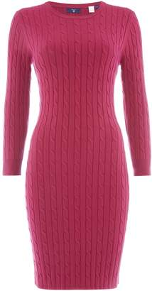 Gant Stretch Cotton Cable Knit Dress With 34 Sleeves