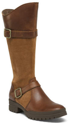 Leather And Suede High Shaft Boots