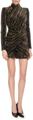 Balenciaga Long-Sleeve Flocked Devore Velvet Draped Mini Dress