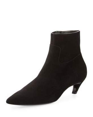 Balenciaga Suede Crooked-Heel Ankle Boot, Noir $825 thestylecure.com