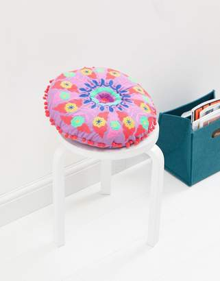 bombay duck Embroidered Round Pom Pom Cushion
